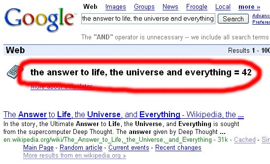 The answer to life, the universe, and everything = 42 ...